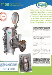 Hoja de datos T100: máquina de tratamiento de residuos hospitalarios