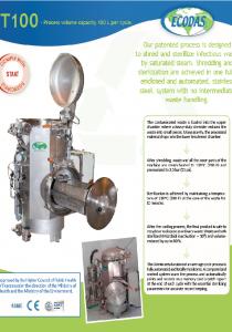 Data sheet T100 : hotpital waste treatment machine