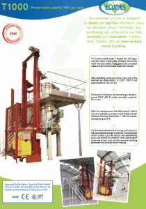 Data sheet T1000 : infectious waste treatment machine
