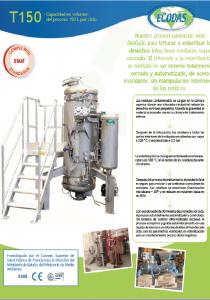 Hoja de datos T150: máquina de tratamiento de desechos biomédicos