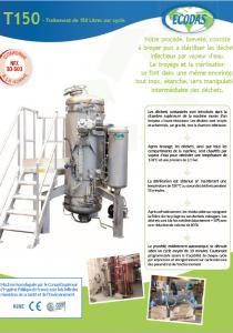 Fiche technique T150 : machine de traitement des déchets biomédicaux