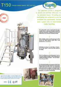Data sheet T150 : biomedical waste treatment machine