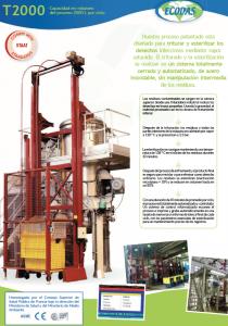 hoja informativa T2000: máquina de tratamiento de residuos regulada