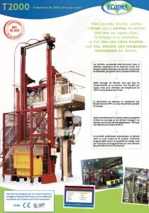 Fiche technique T2000 : machine de traitement des déchets réglementée.