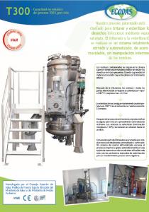 Hoja de datos T300: máquina de tratamiento de residuos médicos