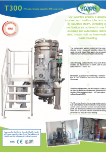 Data sheet T300 : medical waste treatment machine